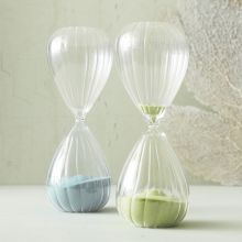 Set of 2 Fluted Hourglasses - Cleared Décor