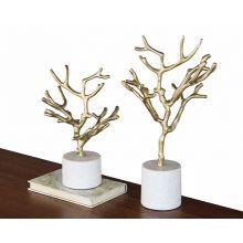 Set of 2 Tree Figurines on Marble Base - Cleared Décor