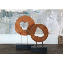 Set of 2 Mango Wood Ring Sculptures