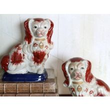 Set of 2 Red and White Dogs