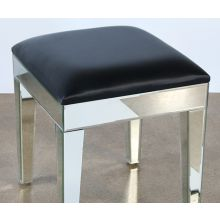 Mirrored Stool With Black Seat