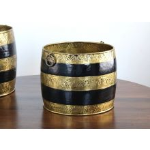 Set of 2 Antique Brass and Black Moroccan Planters