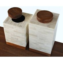Set of 2 Bone Canisters