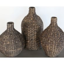 Set Of 3 Brown Seagrass Vases