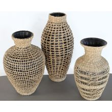 Set Of 3 Black Vases W/Woven Seagrass