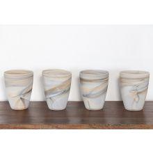 Set Of 4 Matte Alabaster Swirl Vases