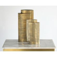 Set of 2 Brass Tiered Vases