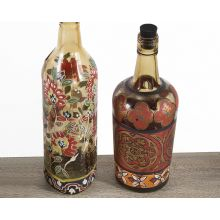 Set of 2 Reclaimed Hand-Painted Bottles