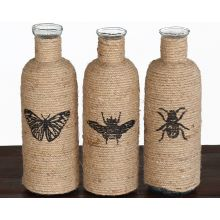 Set of 3 Jute Decorative Bottles