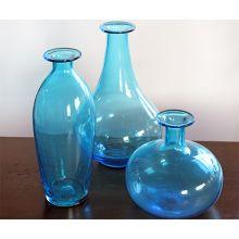 Set Of 3 Blue Glass Vases