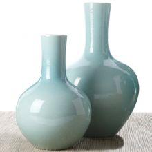 Set of 2 Aquamarine Collar Vases - Cleared Décor