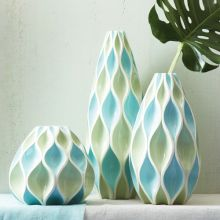 Set of 3 Blue Waves Vases - Cleared Décor