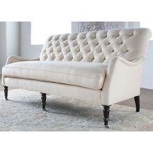 Tightback Tufted Sofa in Linato Cream