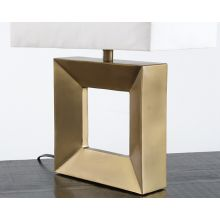 Open Square Table Lamp With Antique Brass Finish