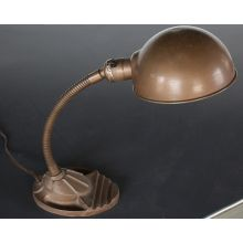 Vintage Copper Gooseneck Lamp With Cast Iron Base