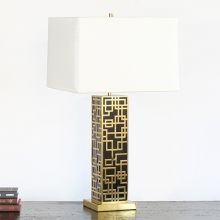 Black Lacquer And Brass Fretwork Table Lamp
