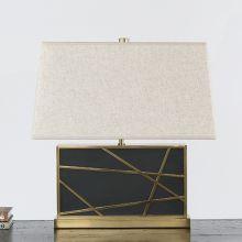 Rectangular Geometric Brass Overlay Table Lamp