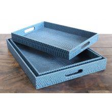 Set of 3 Rectangular Indigo Nested Trays