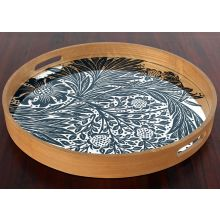 Teak Tray W/Blue Marigold Mirrored Base