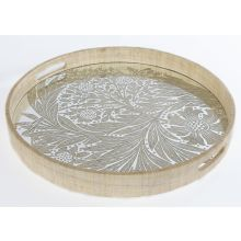 Woven Grass Tray W/Marigold Engraved Mirrored Base