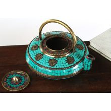 Turquoise Tile Pattern Indian Tea Kettle