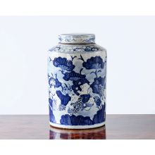 Blue and White Floral Chinese Urn