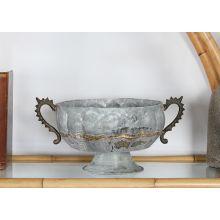 White Wash Iron Urn W/ Handles