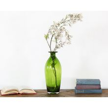 Narrow-Neck Tall Green Glass Vase
