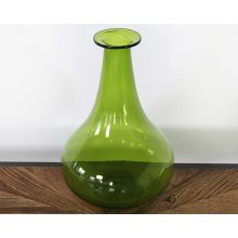 Pear-Shaped Tall Green Glass Vase