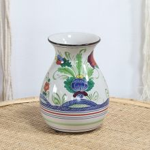 Cream Ceramic Vase With Floral Motif
