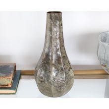 Large Iron Teardrop Vase W/ Antique Silver Finish