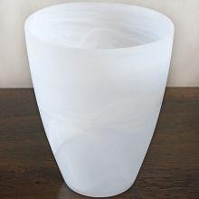 Large Matte Alabaster White Swirl Vase