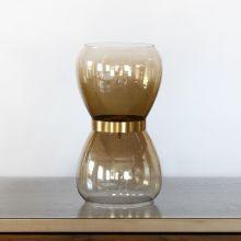 Small Glass & Copper Smoke Lustre Vase